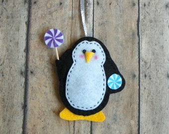 Felt Penguin With Holiday Candy Christmas Ornament