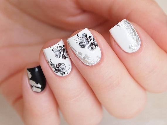 Black Rose Nail Decals Floral Nail Stickers Floral Nail Art Etsy