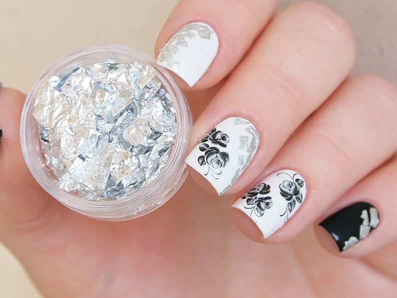 Silver nail art foil/ Silver foil leaf for nails/ Silver nail decorations/  Nails/ nail design/ Nail art supplies/ Foil nail decor