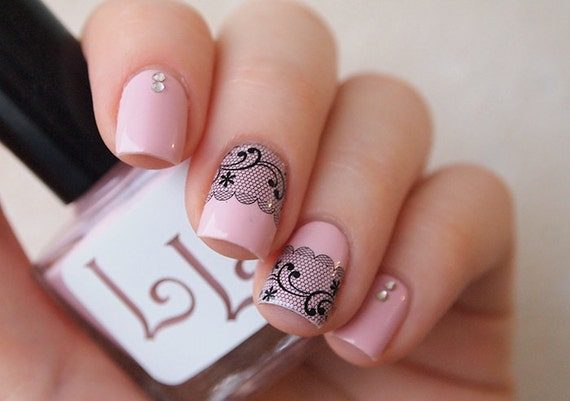 Lace Nail Water Decals Black Lace Nail Stickers Nail Water Etsy