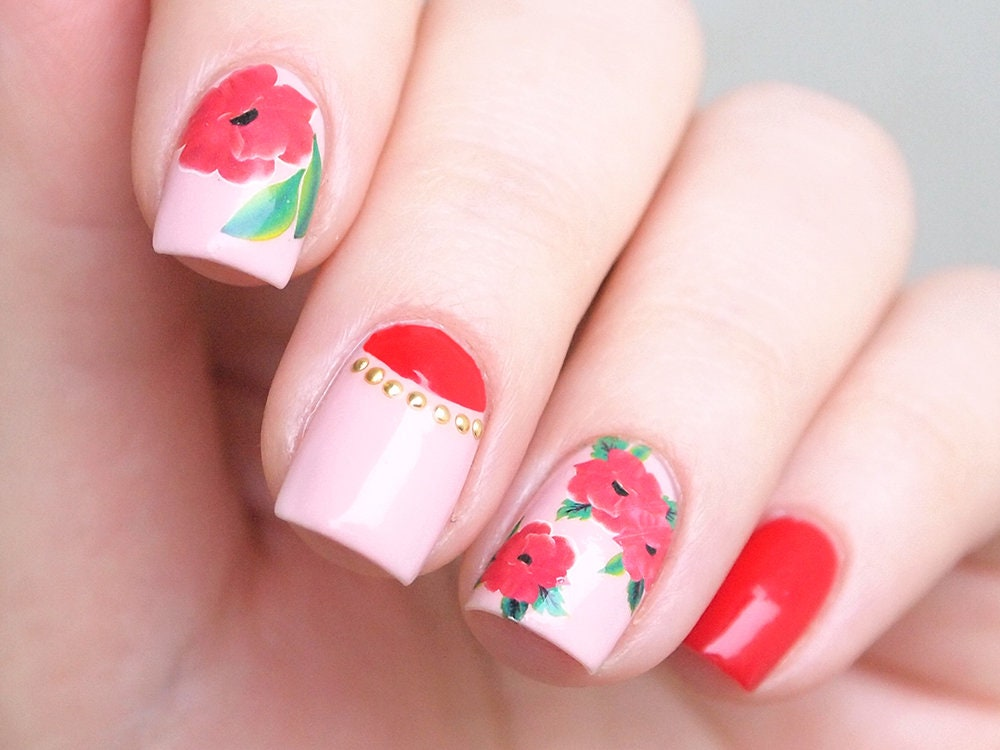 Nail water decals for nail art/ Red floral nail stickers/ | Etsy