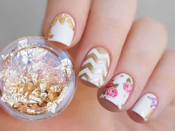 Gold Nail Art Foil Gold Foil Leaf For Nails Gold Nail Etsy