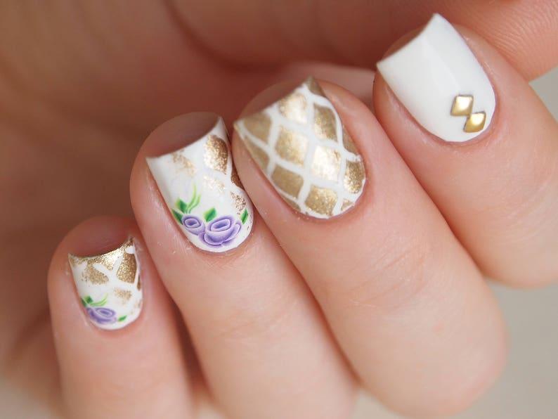 Purple rose nail water decal / Rose nail sticker / Floral nail | Etsy