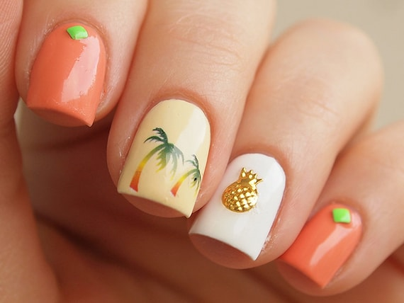 - 50 Pcs Of Gold Pineapple Nail Charms/ 3D Nail Art/ 3D Nail