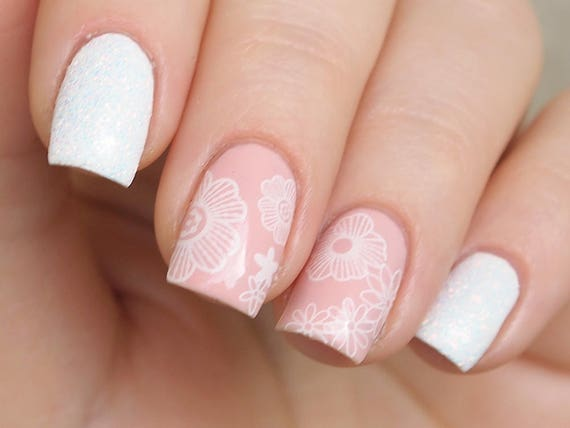 White Floral Lace Nail Water Decals Lace Nail Stickers Etsy