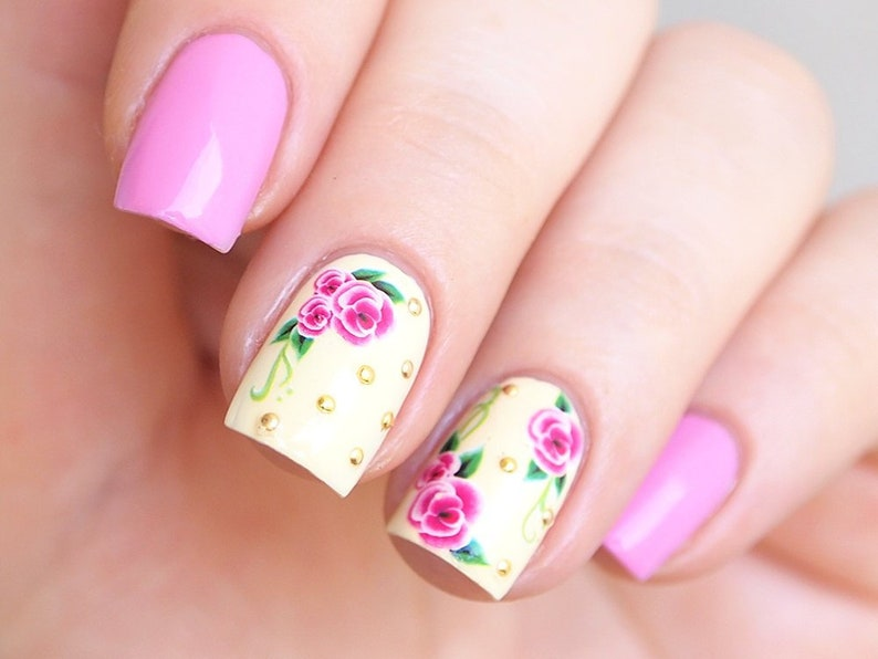 Magenta Pink Flowers Nail Decals Floral Nail Art Stickers Etsy