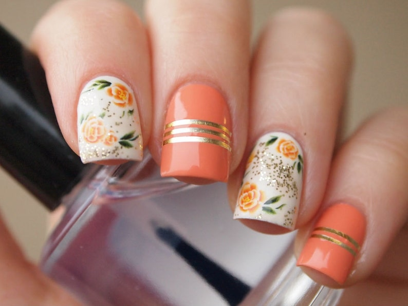 Orange Rose Nail Decals Nail Stickers Nail Art Floral Nail Etsy