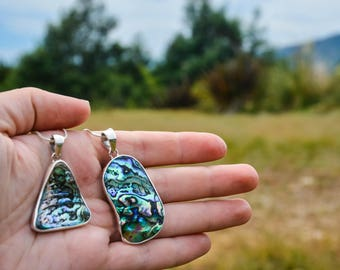 Unique Paua (Abalone) Natural Silver Necklace