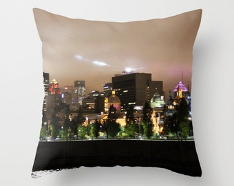 Montreal Skyline II, Pillow Cover, 16x16,18x18, 20x20, home decoration, City Deco, skyline, city lights, Interior design, cityscape,