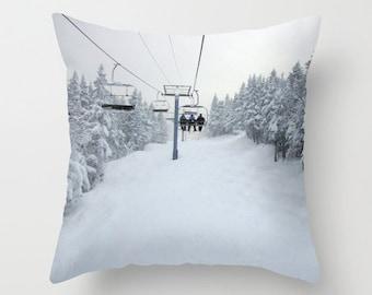 Chair Lift, Pillow Cover, 6 sizes, cotton, linen,poly,home decor, winter decor,interior design,white,grey,trees,winter,nature,snow,ski decor