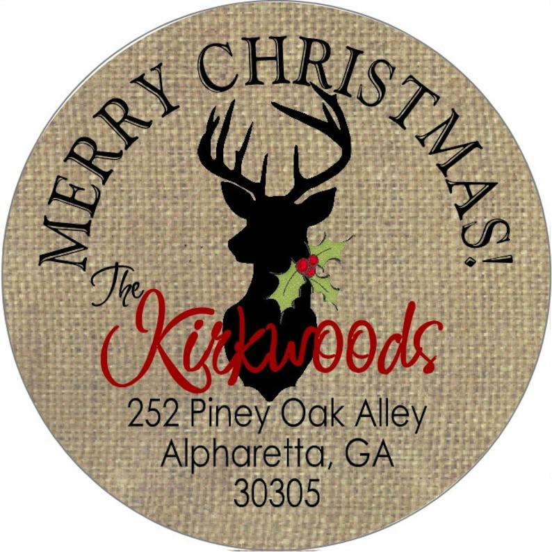 Christmas Address Labels Burlap Deer Round Return Address Labels for Chirstmas Cards Gift Labels Treat Bags Canning Labels Mason Jars