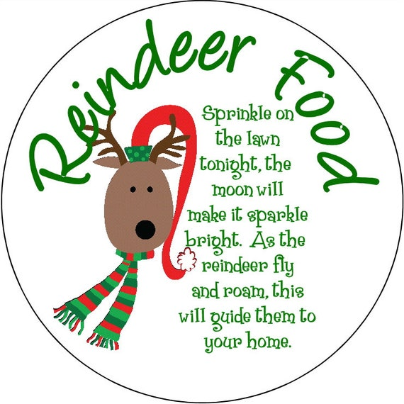 Christmas Label Reindeer Food Round Labels Stickers For