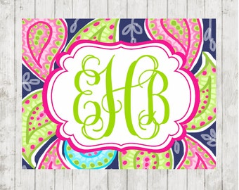 Notecards Flat Paisley Pattern Preppy Flat Notecards with Envelopes and Personalized Monogramed