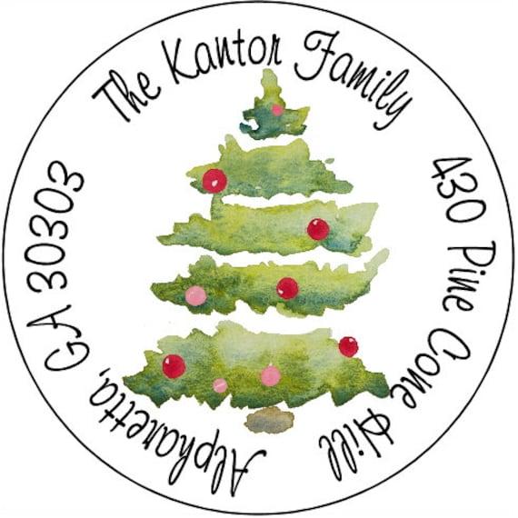 christmas address labels watercolor tree round return address etsy