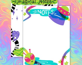 Magical Notepads | Alien Notepads | Witchy | Space | Blank Notes | Memo Pad