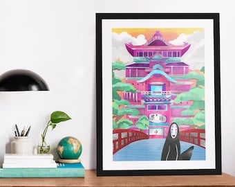 The Bathhouse   Art Print   No Face   Miyazaki Inspired Art