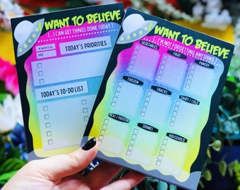 I Want To Believe Notepads | Daily To Do List | Shopping List | Grocery Notepad | To Do Notepad | X-Files