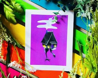 Baba Yaga Art Print   Baba Yaga's House   Witch Art   Occult Art