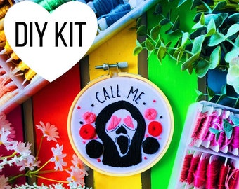 Ghostface | Call Me | DIY Embroidery Kit | Beginner | Scream | Horror Movies | Embroidery Kit | Hoop Art