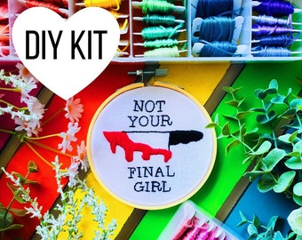 Final Girl | DIY Embroidery Kit | Beginner | Scream Queens | Horror Movies | Embroidery Kit | Hoop Art