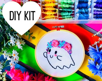 Spooky Cutie | DIY Embroidery Kit | Ghost | Pastel Goth | Floral Ghost | Halloween