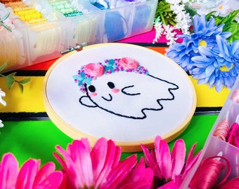 Spooky Cutie   Digital Hand Embroidery Pattern   PDF Digital Download   Beginner   Halloween   Pastel Goth