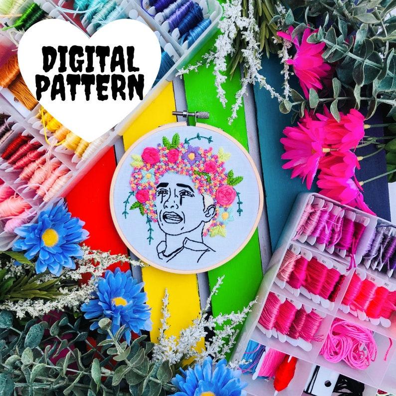 May Queen Embroidery Kit Hoop Art Intermediate Digital Pattern Midsommar