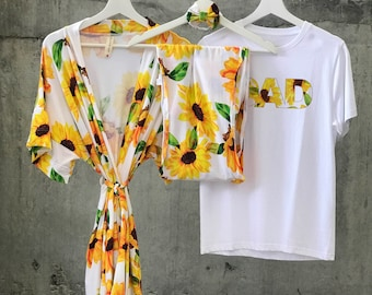Robe and swaddle set girl. Rich feel Super soft Organic stretch cotton fabric. Sunflowers. Matching family t-shirts also available.