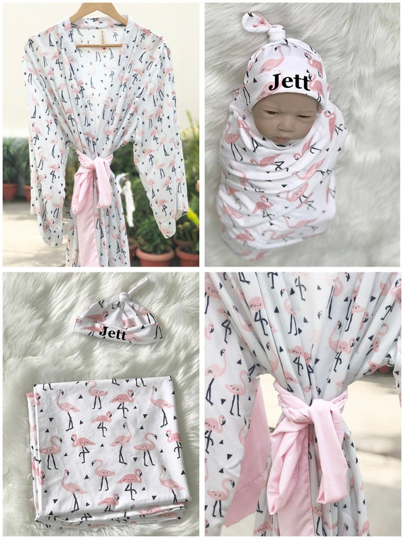 hospital robe perfect baby shower gift Maternity Robe and Swaddle Set Matching Hospital Set baby blanket delivery robe mommy and me