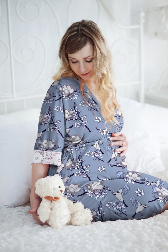 7b205b81f4 Blue gray maternity robe swaddle set pregnancy outfit long