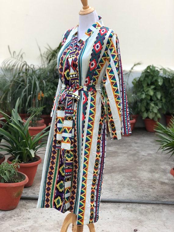 Maternity robe tribal print birthing robe labor and   Etsy