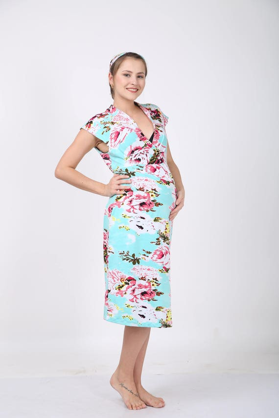 Aqua Maternity Gown Dress In Stretch Cotton Floral Hospital Etsy