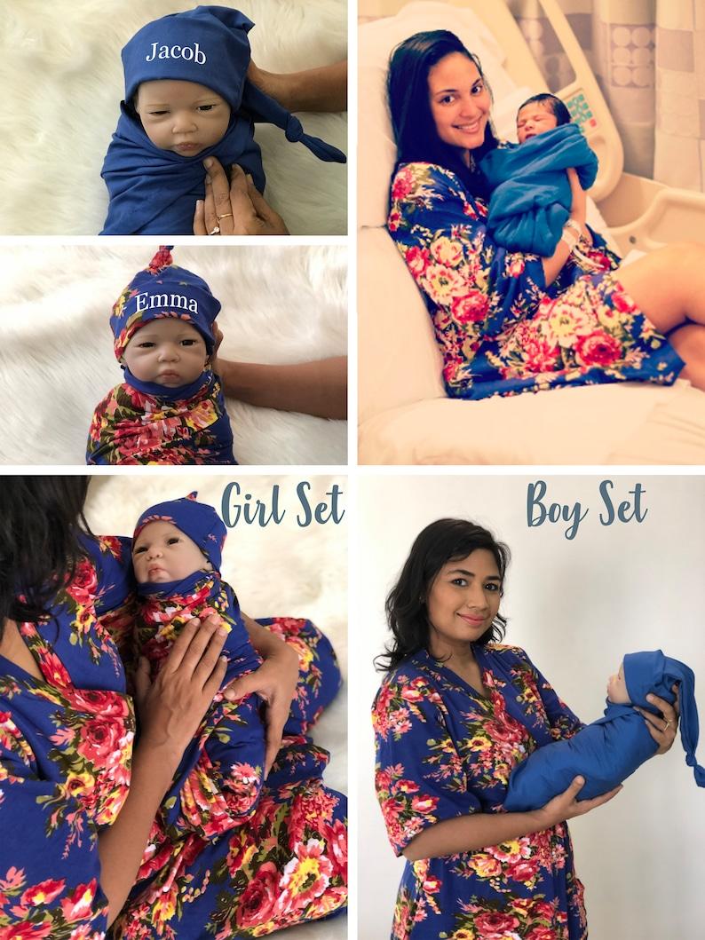 d0c1adef96b83 Boy Maternity set of mommy robe & newborn swaddle for hospital | Etsy
