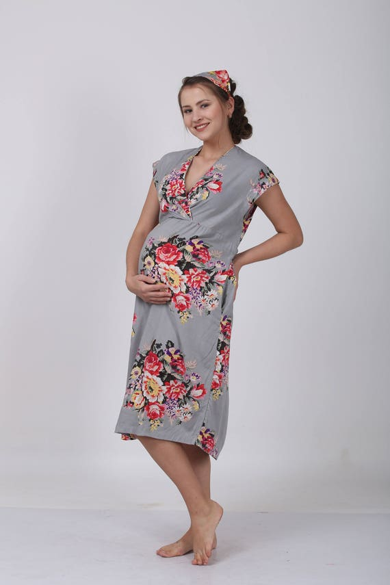 Gray Maternity Gown Dress Floral Hospital Dress Birthing Etsy