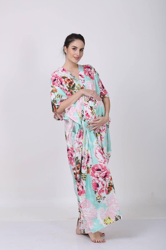9eb1f2e663f78 Dark Aqua Floral mommy gown hospital gown maternity | Etsy