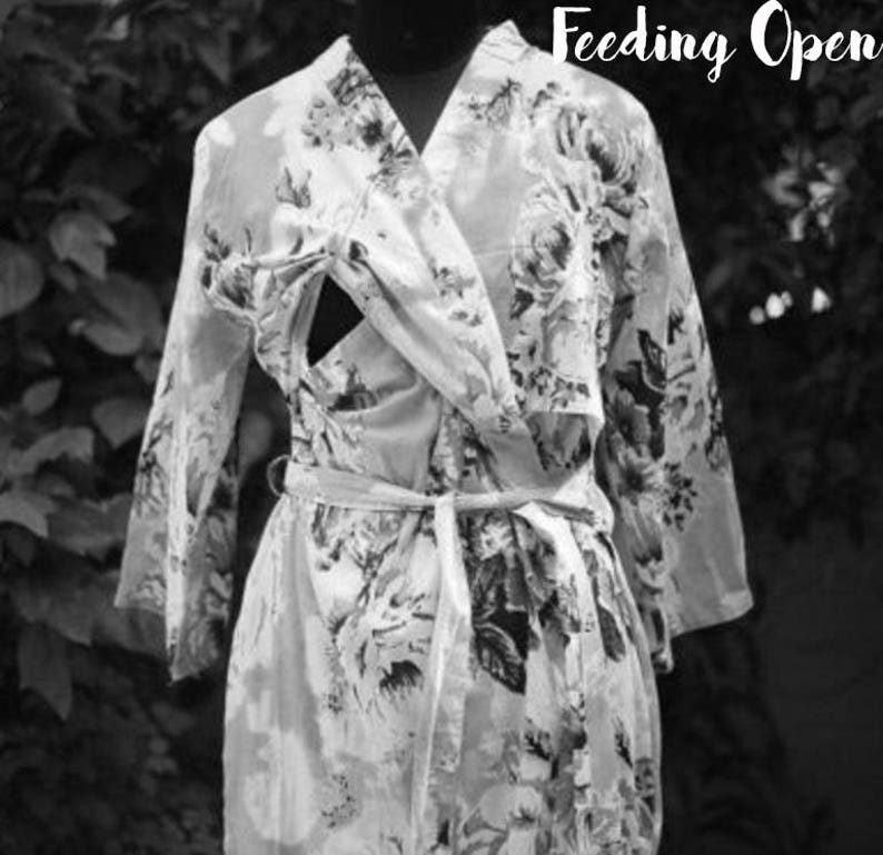 baby shower choice of Fabric ANKLE length labor and delivery Maternity robe in floral print