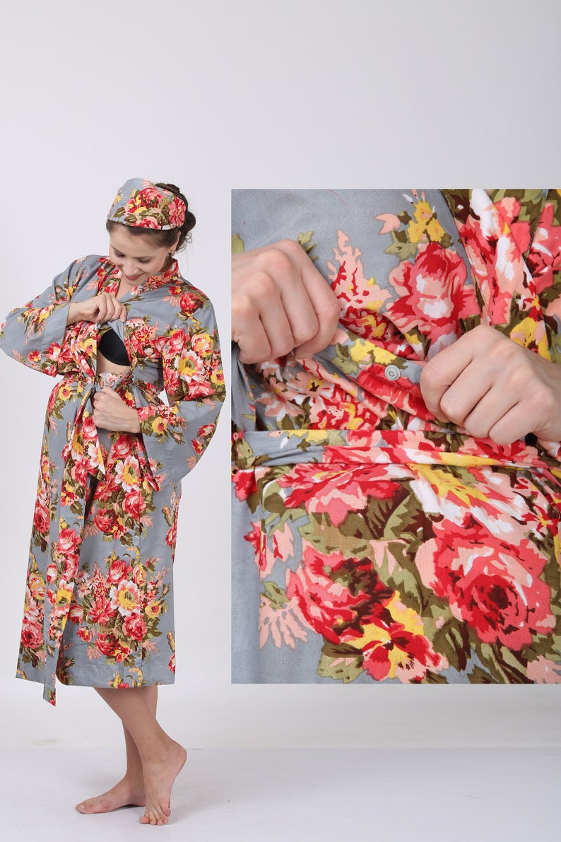 floral birthing robe newborn boy swaddle pregnancy and labor hospital wear robe cotton delivery robe nursing robe set Mom and me robes