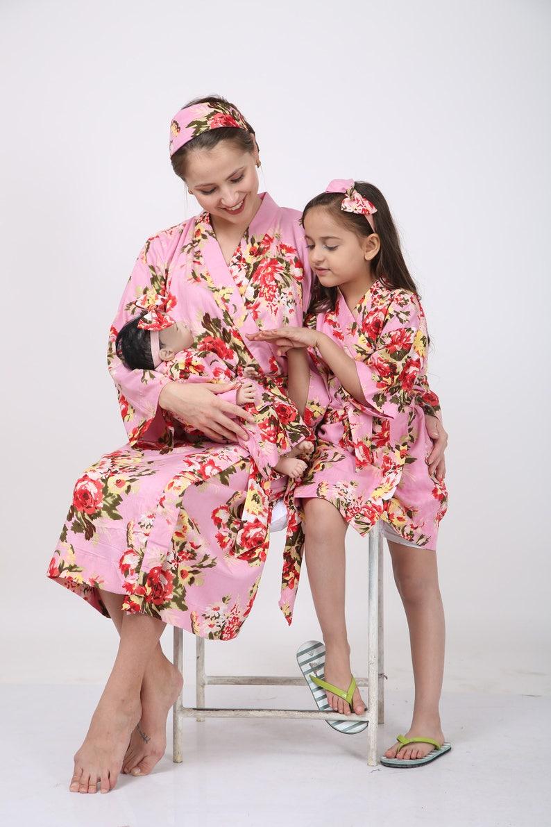 8f336860e1e92 Matching mom baby swaddle and elder sister robe hospital | Etsy