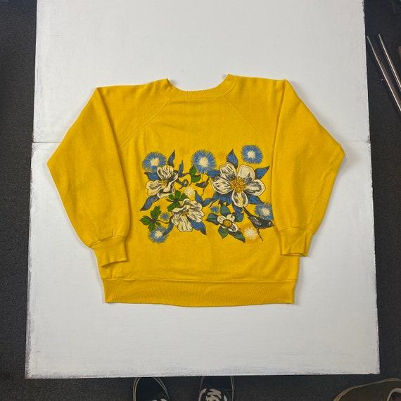 1970s Floral & Birds Print Yellow Sweatshirt