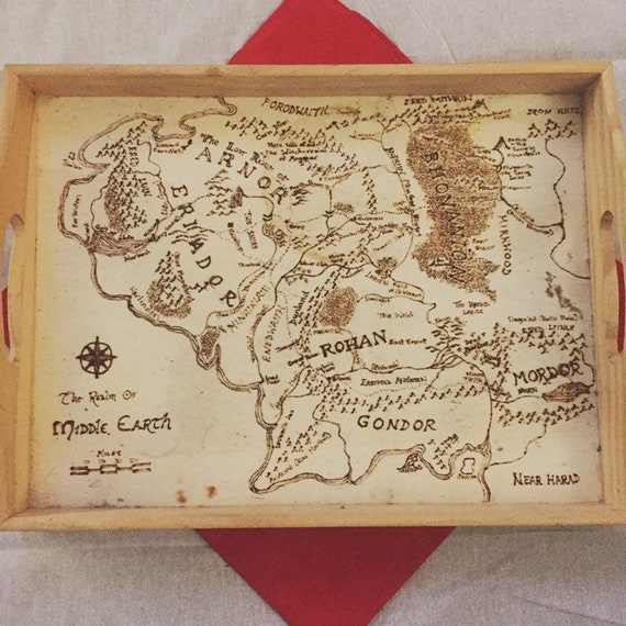 Wood-burned Map of Middle Earth