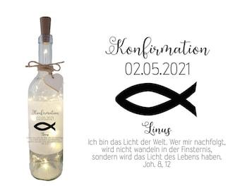 Bottle light deco light gift for CONFIRMATION