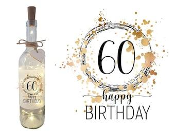 Bottle light decorative light gift for 60th birthday