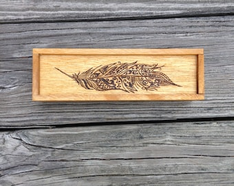 Tribal Feather Wooden Jewelry Box
