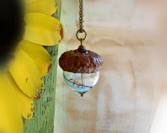 Sky blue acorn necklace  Dandelion pendant  Lampwork glass forest jewelry Woodland necklace Real seeds necklace