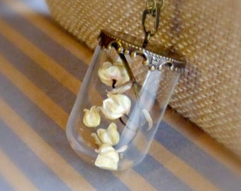 Lily of the valley pendant , Dry flower bottle necklace , Romantic terrarium necklace , Real flower jewelry , Botanical gift idea for her