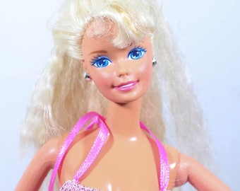 Vintage 90s Barbie Doll, Barbie, Pink Dress, Doll, barbie doll, blonde, 90s, 90s toys CRIMPED HAIR