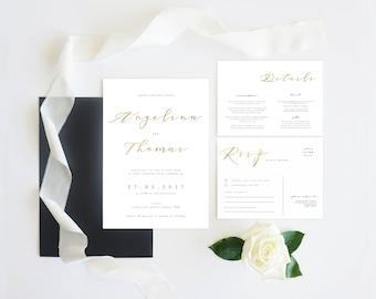 Black White Gold   Wedding Event Invitation Suite   Gold Logo Black Stripe Printable Digital File Printed Invite Invitations Stationery