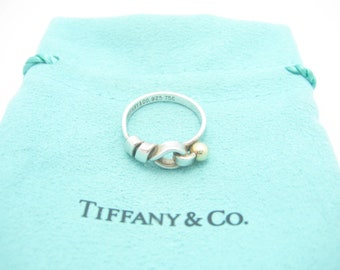 9890b5bfa Tiffany & Co. 18K Yellow Gold and Sterling Silver Hook and Eye Ring Size 5  - Pouch