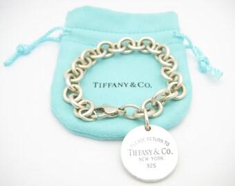 92cf9ddfdbd7 Please Return to Tiffany   Co. Sterling Silver Round Tag Bracelet 7 1 2