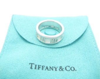 19398ec6e Tiffany & Co. Italy Sterling Silver Atlas Collection Narrow Band Ring Size 6  - Pouch